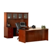 Mayline Mira Series Typical 9 Wood U-Shaped Desk Set in Espresso