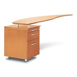 Mayline Napoli Curved Desk Left Return with Pedestal in Golden Cherry