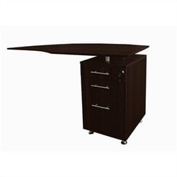 Mayline Medina Curved Desk Return With Pedestal (Right) in Mocha
