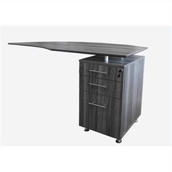 Mayline Medina Curved Desk Return With Pedestal (Right) in Gray Steel