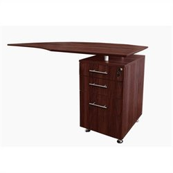 Mayline Medina Curved Desk Return With Pedestal (Right) in Mahogany