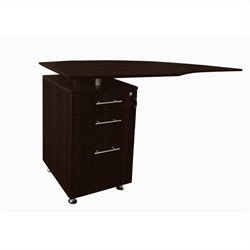 Mayline Medina Curved Desk Return With Pedestal (Left) in Mocha