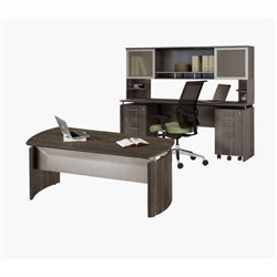 Mayline Medina Series Executive Desk Set in Gray Steel