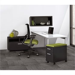 Mayline e5 Quickship Typical 10 Office Set in White and Raven