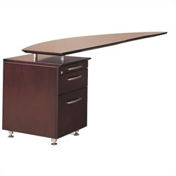 Mayline Napoli Curved Desk Left Return in Mahogany