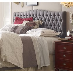 Elle Decor Tufted Panel Headboard in Gray