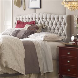 Elle Decor Tufted Panel Headboard in Beige