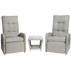 Elle Decor Vallauris 3 Piece Reclining Patio Sofa Set