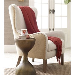 Elle Decor Mid-Century Wingback Accent Chair in Beige