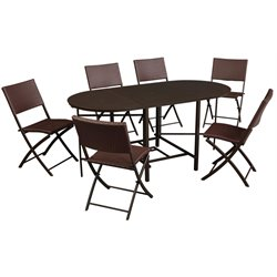 COSCO Delray 7 Piece Compact Folding Patio Dining Set-SH
