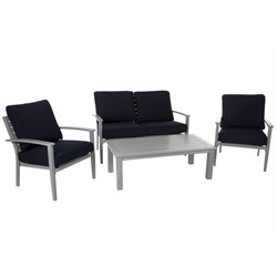 COSCO Outdoor Blue Veil 4 Piece Patio Sofa Set in Gray