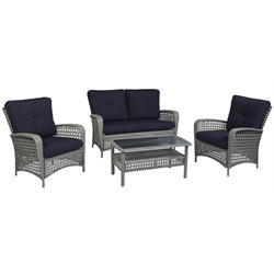 COSCO Outdoor Lakewood Ranch 4 Piece Wicker Patio Sofa Set in Gray