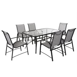 COSCO Outdoor Paloma 7 Piece Patio Dining Set in Charcoal