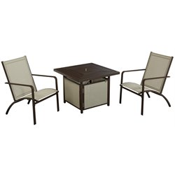 COSCO Outdoor Stone Lake 3 Piece Fire Pit Patio Bistro Set in Brown