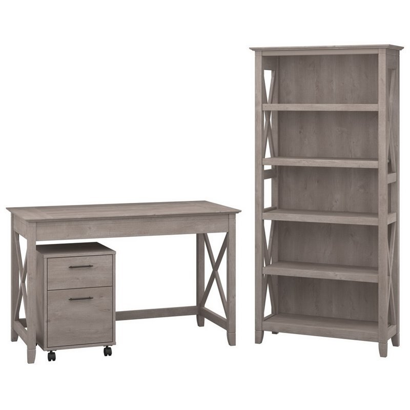 3 Piece Office Furniture ~ Bush furniture key west piece office set in washed gray