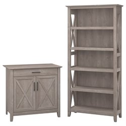 Bush Furniture Key West Storage Cabinet and 5 Shelf Bookcase in Washed Gray