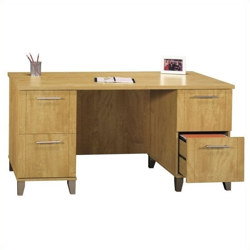 "Bush Somerset Collection 60"" Wood Desk in Maple Cross ..."