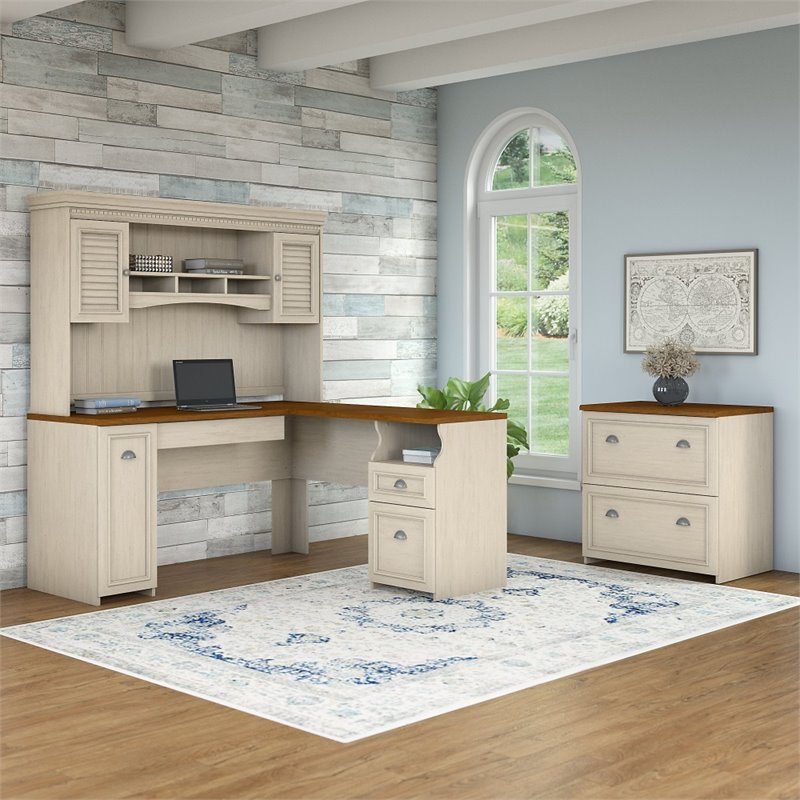 Bush Fairview 3 Piece Office Set in Antique White