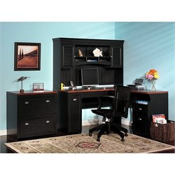 Bush Fairview L-Shaped Wood Home Office Set in Black