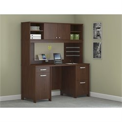 Bush Envoy Computer Desk with Hutch in Hansen Cherry