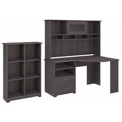 Bush Cabot Corner Desk with Hutch and 6 Shelf Bookcase in Heather Gray