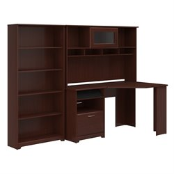 Cabot Corner Desk with Hutch and 5 Shelf Bookcase