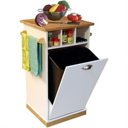 Venture Horizon Butcher Block Bin with Pantry in White