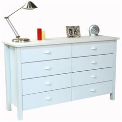 8-Drawer Lowboy Dresser in White