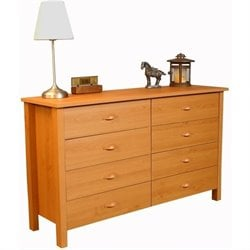 8 Drawer Lowboy Double Dresser in Oak