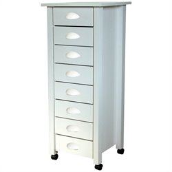 Venture Horizon 8 Drawer Wood Mobile Filing Cabinet in White