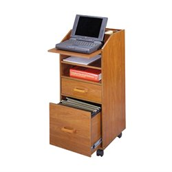 2 Drawer Wood Laptop Cart Filing Cabinet in Cherry