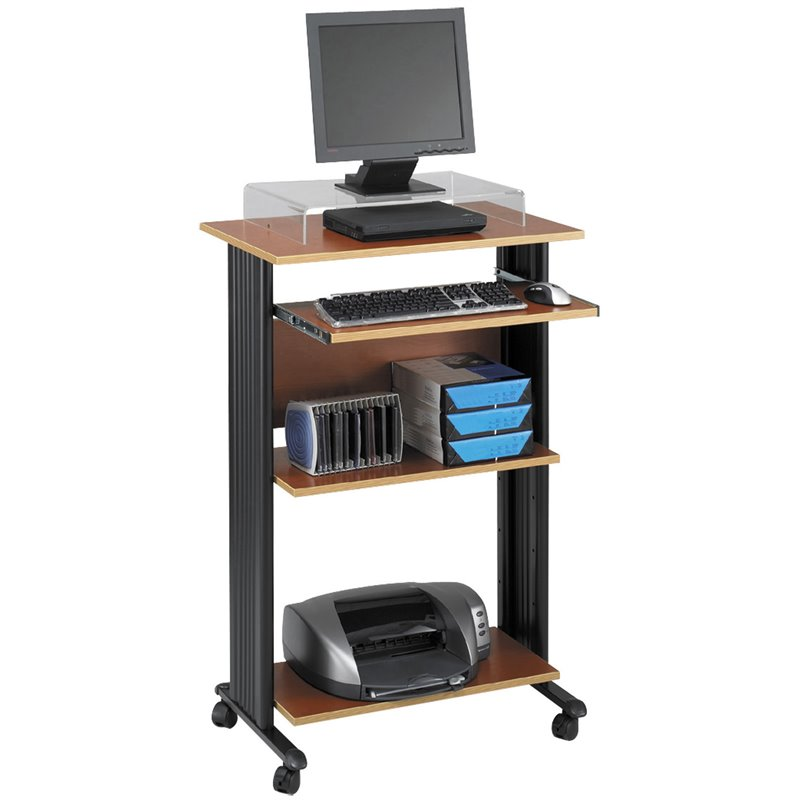 Standing Wood Workstation in Cherry