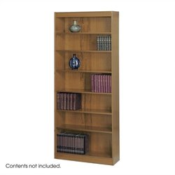 7-Shelf Square-Edge Veneer Bookcase in Medium Oak