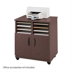 Safco Mobile Stand with Sorter in Mahogany