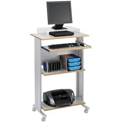 Standing Wood Workstation in Gray