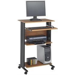 Standing Wood Workstation in Medium Oak