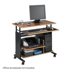 Mini Tower Height Adjustable Wood Workstation in Cherry