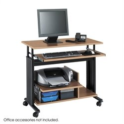 Mini Tower Height Adjustable Wood Workstation in Medium Oak