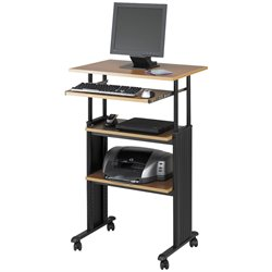 Standing Height Adjustable Wood Workstation in Medium Oak