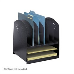 Black Combination Steel Desk Rack with 6 Vertical and 2 Horizontal Sections