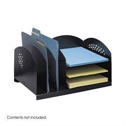 Black Combination Steel Desk Rack with 3 Vertical and 3 Horizontal Sections