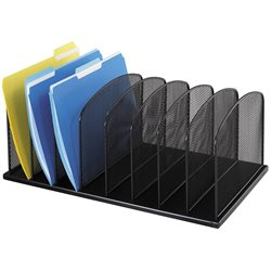 Onyx Black Mesh Desk Organizer with 8 Upright Sections