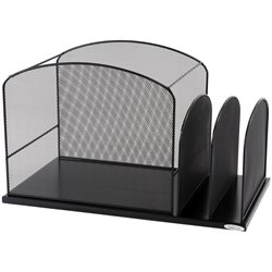 Onyx Black Mesh Desk Organizer with 2 Upright Sections