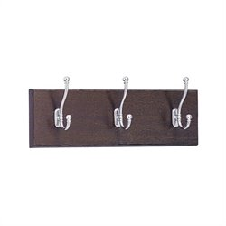 3 Hook Wood Wall Coat Rack in Mahogany (Set of 6)