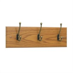 3 Hook Wood Wall Coat Rack in Medium Oak (Set of 6)