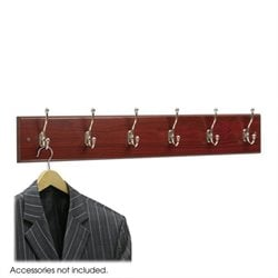 6 Hook Wood Wall Coat Rack in Mahogany (Set of 6)