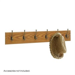 6 Hook Wood Wall Coat Rack in Medium Oak (Set of 6)