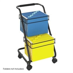 2 Tier Mobile Metal Hanging File Cart