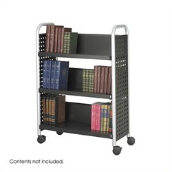 Single Sided 3 Shelf Book Cart