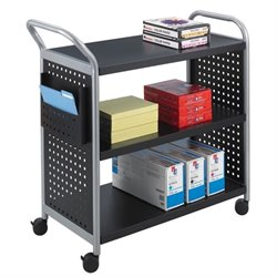 Safco Scoot 3 Shelf Utility Transport Cart in Black